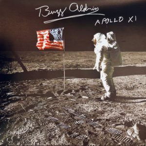 buzz aldrin autographed canvas on moon with american flag