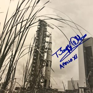 NASA photo release of Apollo 11 rocket taken prior to launch dated May 20, 1969 Autographed by Buzz Aldrin