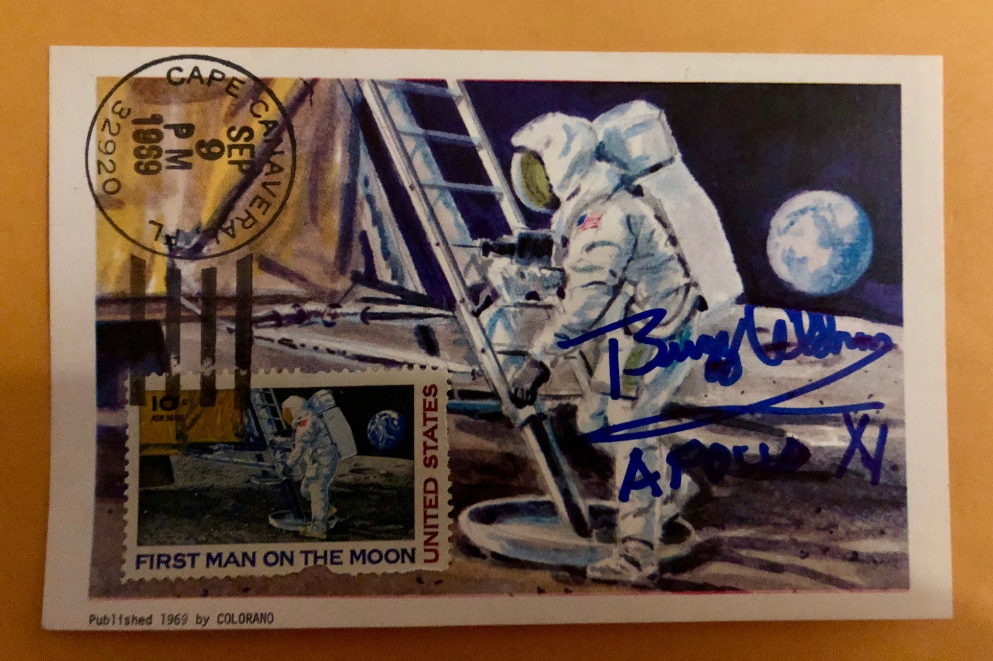 Vintage First Man On The Moon Stamp Autographed By Buzz Aldrin