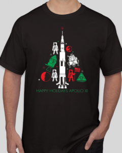 Space Rocket Christmas Tree Apollo 11 Happy Holidays
