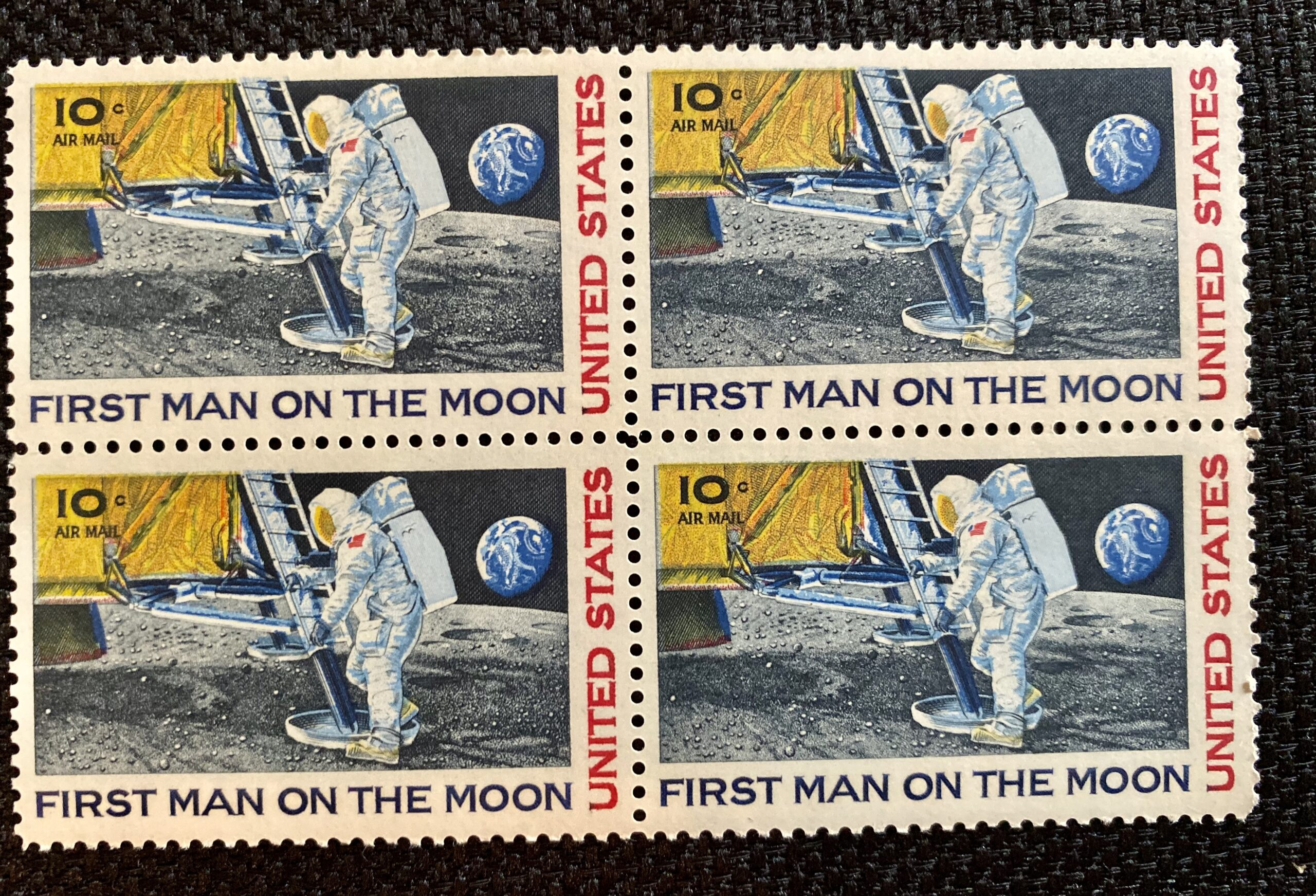 Vintage First Man On The Moon ** 1969 Apollo 11 ** US Postage Stamps with Buzz Aldrin Autographed Photo