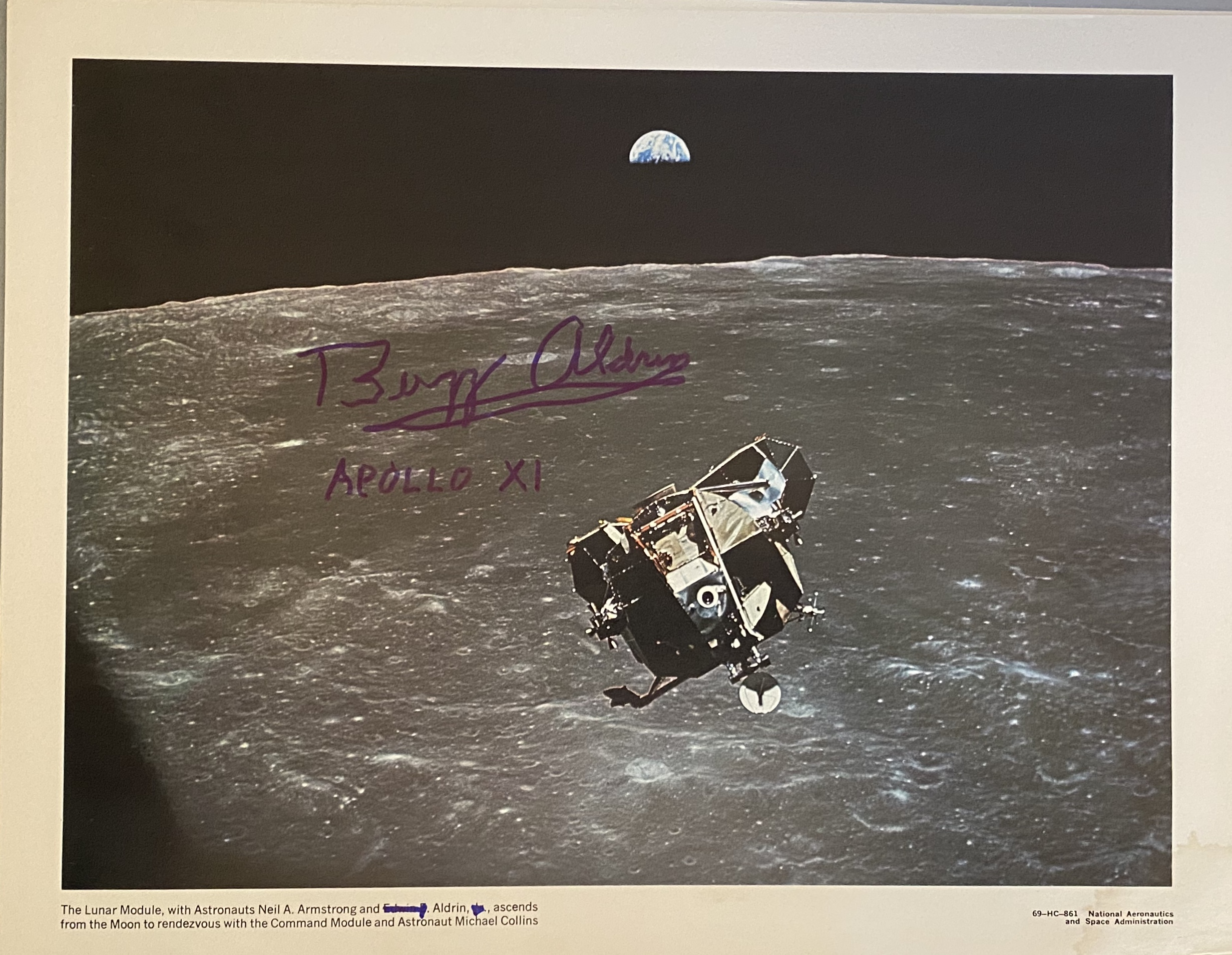 NEW! VINTAGE, 11 X 14″, ALDRIN AUTOGRAPHED in BLUE, ORIGINAL,1969, NASA PRINT OF APOLLO 11 DEPARTING THE MOON